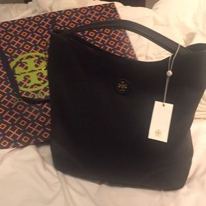 Tory Burch whipstitch black hobo